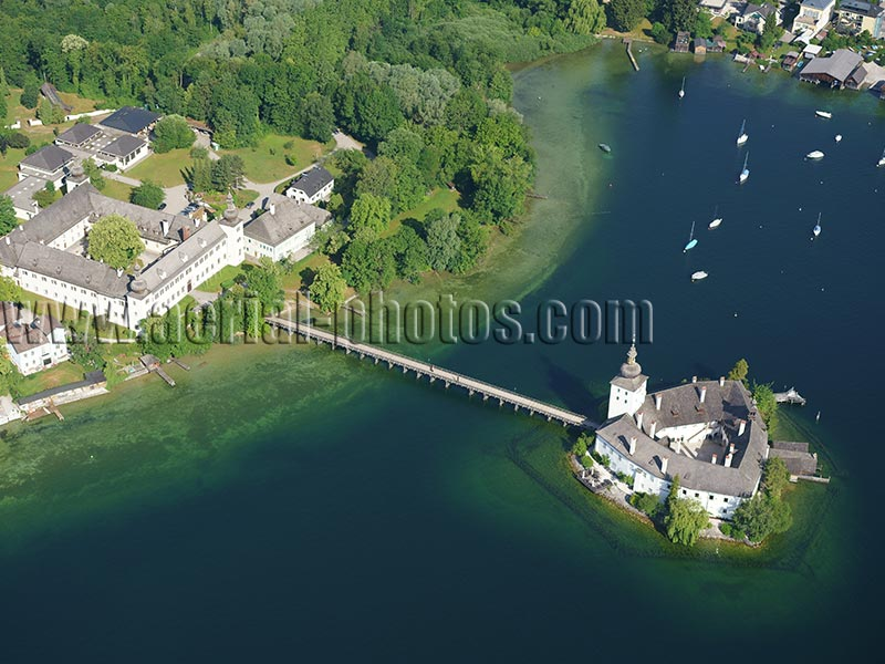 AERIAL VIEW photo of Ort Castle, Gmunden, Traunsee (lake), Upper Austria, Austria. LUFTAUFNAHME luftbild, Schloss Ort, Gmunden, Oberösterreich, Österreich.