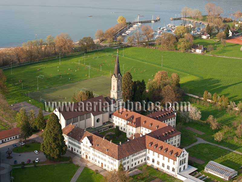 AERIAL VIEW photo of Mehrerau Abbey, Bregenz, Lake Constance, Vorarlberg, Austria. LUFTAUFNAHME luftbild, Abtei Mehrerau, Bodensee, Österreich.