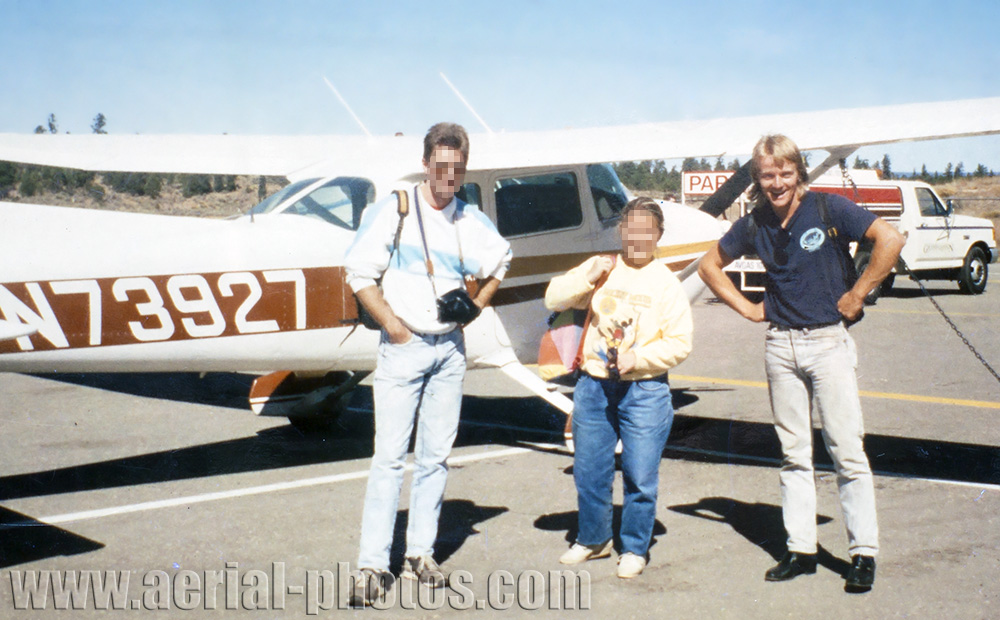 The photographer (right) and his passengers after a sightseeing flight in a Cessna 172 over the Grand Canyon in Arizona, USA.