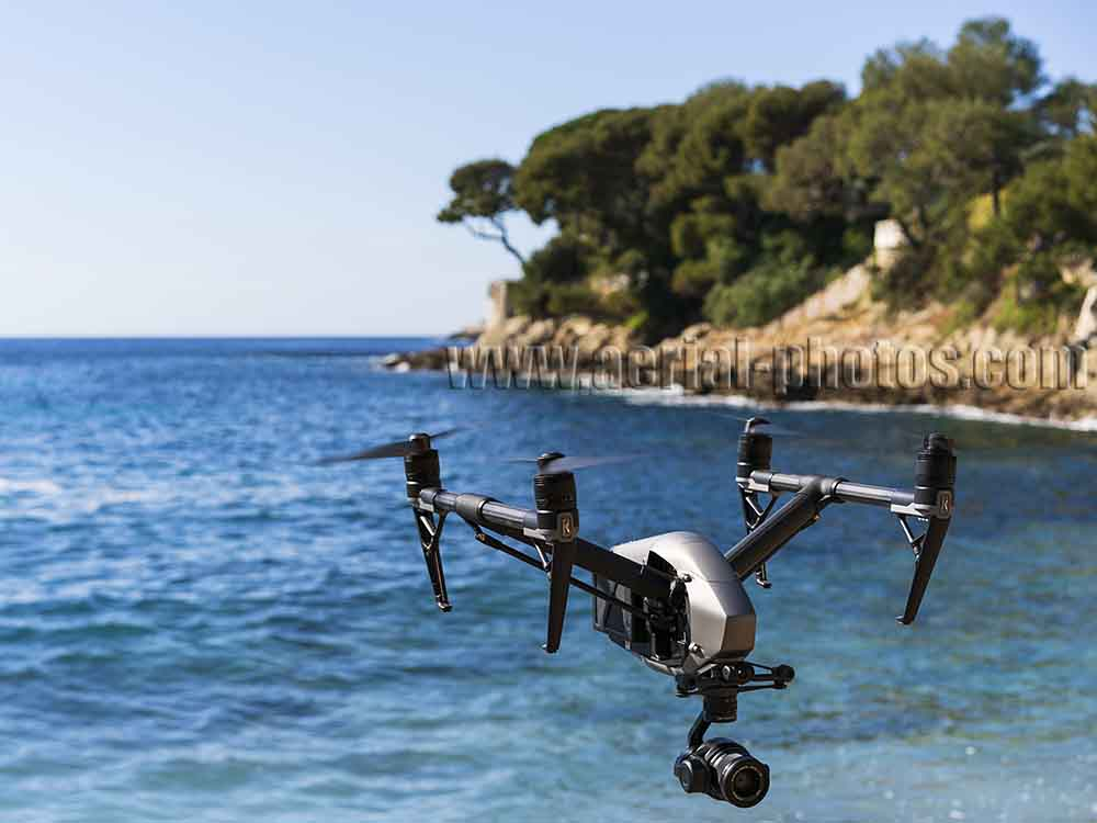 High-Tech Toy; the Inspire 2 drone by DJI that flew away and consequently crashed. Saint-Jean-Cap-Ferrat, French Riviera, France.