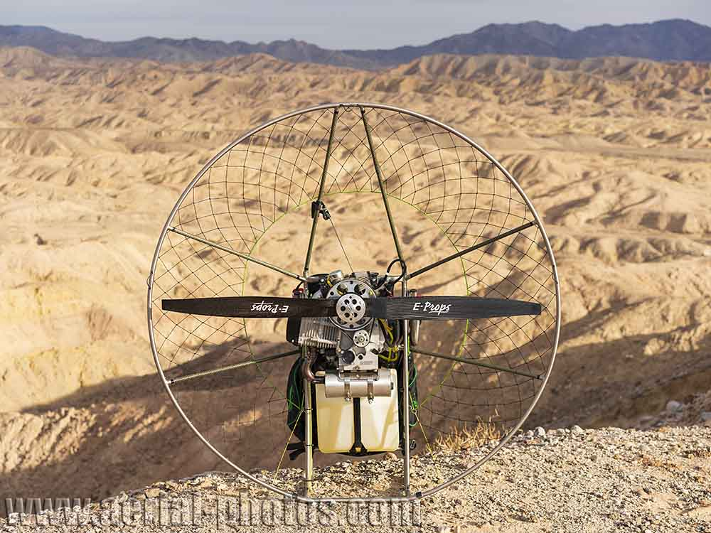 The amazing paramotor: a Bailey 4-stroke engine mounted on a titanium chassis from R.Ultralight. Truckhaven, California, USA.