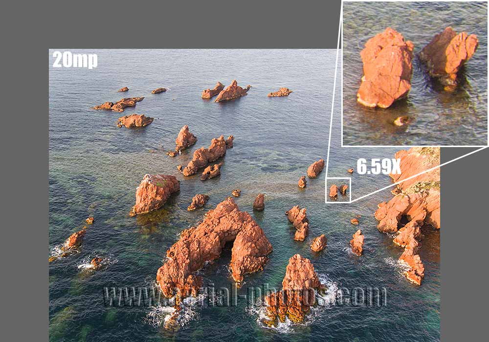 20mp with the X5S camera from the Inspire 2 DJI drone. Sea Pinnacles. Esterel Massif, French Riviera, France.