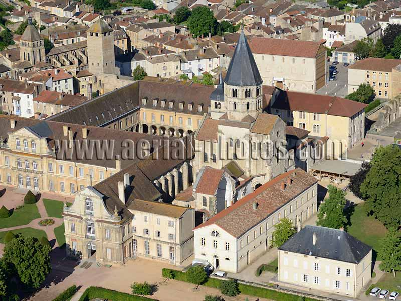 AERIAL VIEW photo of Cluny Abbey, Burgundy, France. VUE AERIENNE, Abbaye de Cluny, Bourgogne-Franche-Comté.
