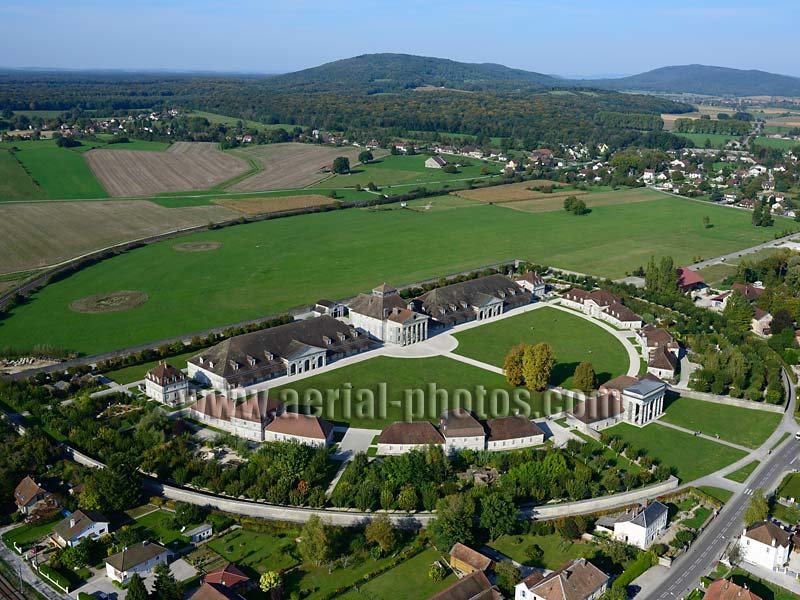 AERIAL VIEW photo of the Royal Saltworks, Burgundy, France. VUE AERIENNE, Saline Royale, Bourgogne-Franche-Comté.