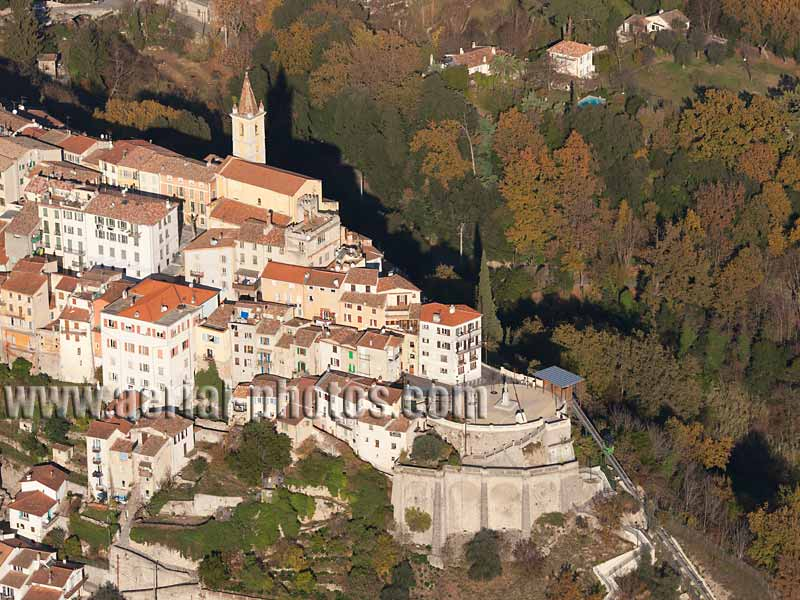 AERIAL VIEW photo of an hilltop town, Contes, French Riviera, France. VUE AERIENNE village perché, Côte d'Azur.