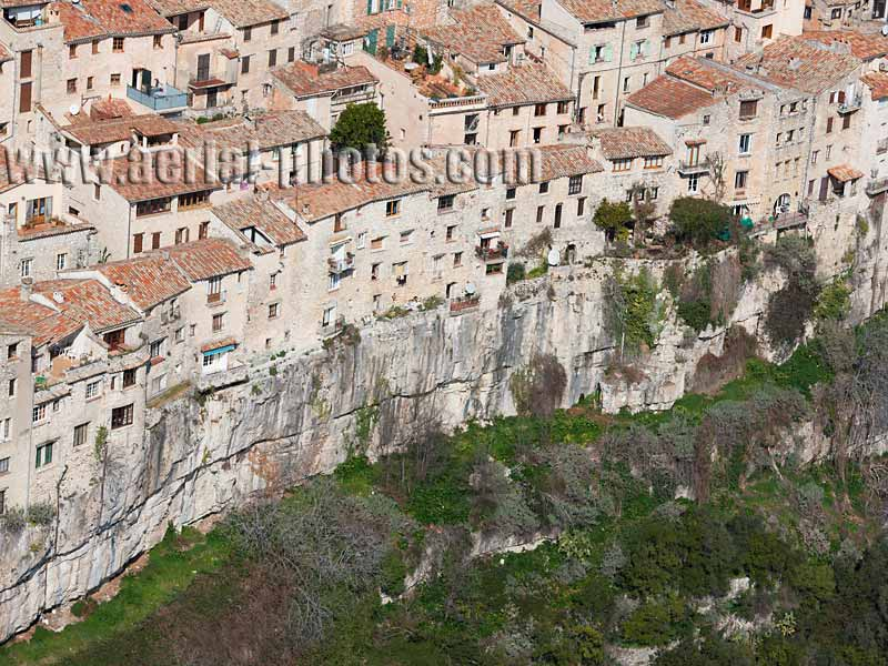 AERIAL VIEW photo of an hilltop town, Tourrettes-sur-Loup, French Riviera, France. VUE AERIENNE village médiéval perché, Côte d'Azur.