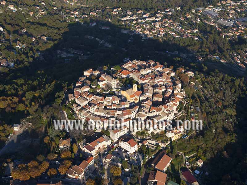 AERIAL VIEW photo of an hilltop town, Gattières, French Riviera, France. VUE AERIENNE village médiéval perché, Côte d'Azur.