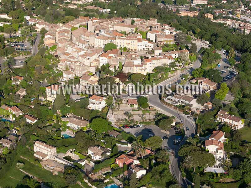 AERIAL VIEW photo of an hilltop town, Mougins, French Riviera, France. VUE AERIENNE village médiéval perché, Côte d'Azur.