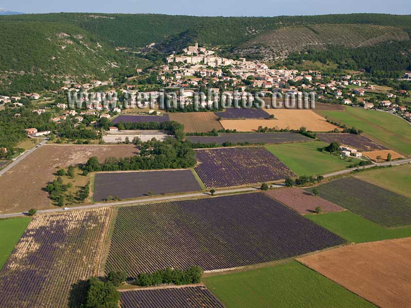AERIAL VIEW photo of an hilltop town, Banon, Provence, France. VUE AERIENNE village perché.