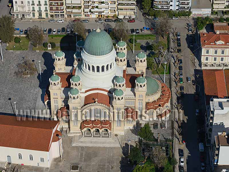 AERIAL VIEW Saint-Andrew Cathedral, Patras, Peloponnese Peninsula, Greece.