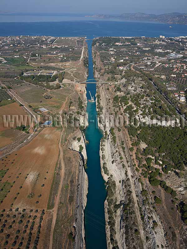 AERIAL VIEW Corinth Canal, Peloponnese Peninsula, Greece.