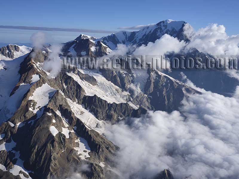 AERIAL VIEW photo of Aiguille de Triolet and Mont Dolent, Aosta Valley, Italy. VEDUTA AEREA foto, Valle d'Aosta, Italia.