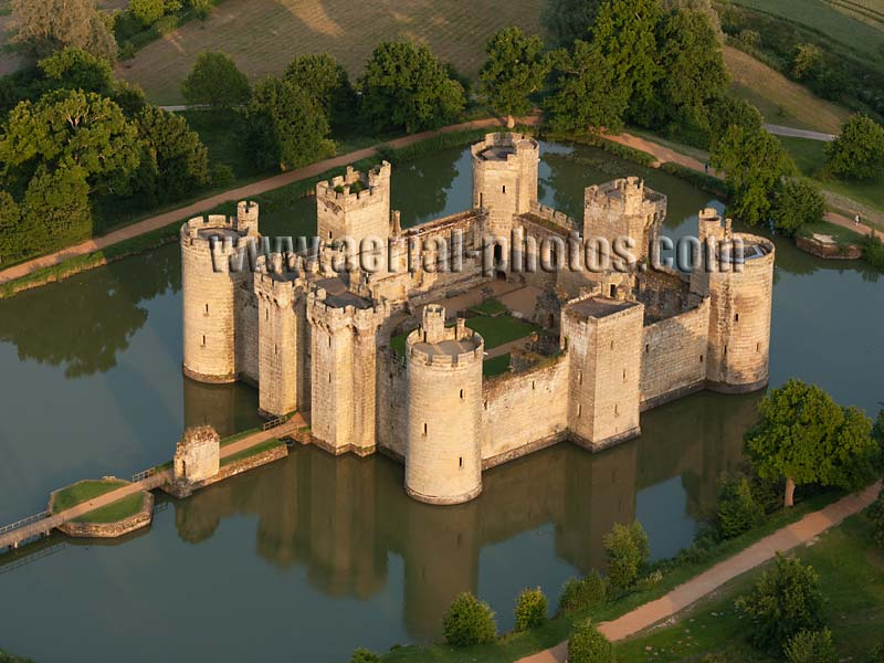 AERIAL VIEW photo of Bodiam Castle, East Sussex, England, United Kingdom.