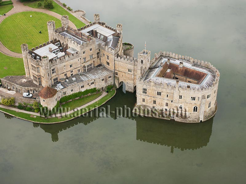 AERIAL VIEW photo of Leeds Castle, Kent, England, United Kingdom.