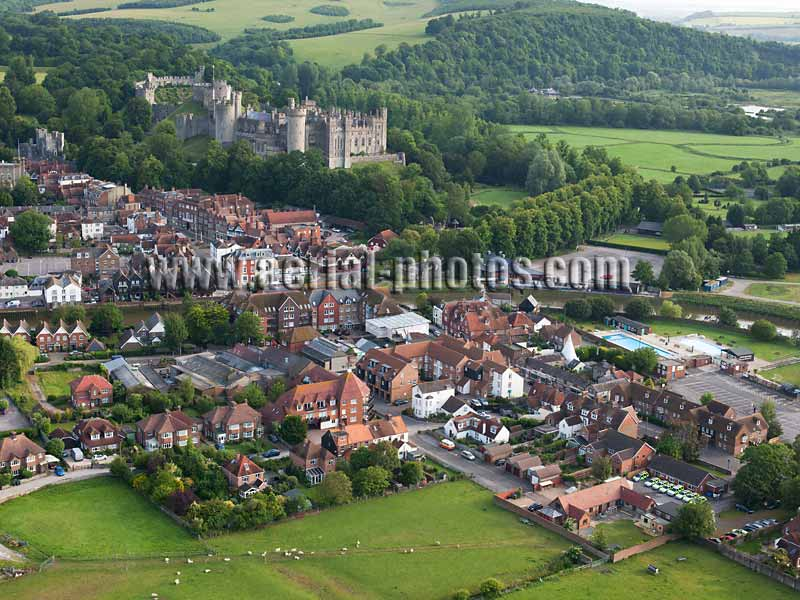 AERIAL VIEW photo of Arundel Castle, West Sussex, England, United Kingdom.