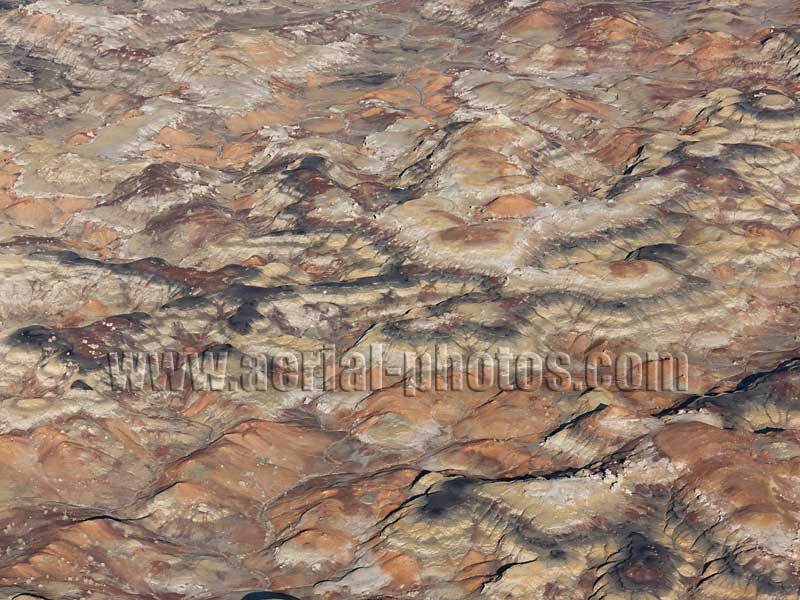 Aerial view of colorful abstract vistas, Bisti De-Na-Zin Wilderness Area, New Mexico, USA.