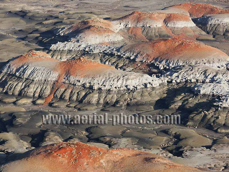 Aerial view of black and red badlands, Bisti De-Na-Zin Wilderness, New Mexico, USA.