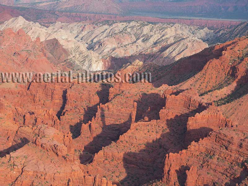 AERIAL VIEW photo of salt domes and sandstone cliffs, Onion Creek Canyon, Utah, United States.