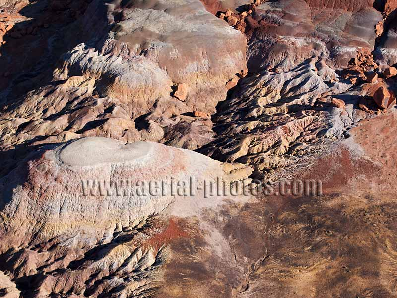 AERIAL VIEW photo of colorful badlands, Clay Hills, Utah, United States.
