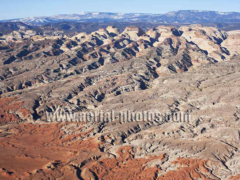 AERIAL VIEW photo of badlands, Capitol Reef National Park, Utah, United States.