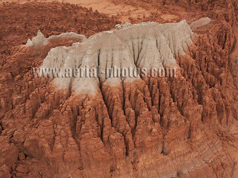 AERIAL VIEW photo of a bicolored butte, San Rafael Swell, Utah, United States.