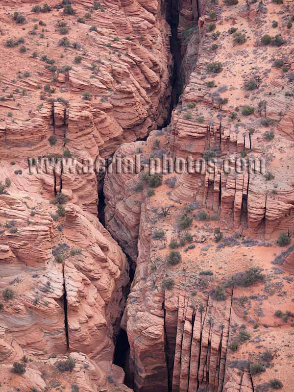 AERIAL VIEW photo of Buckskin Gulch, longest slot canyon on the Colorado Plateau, Utah, United States.