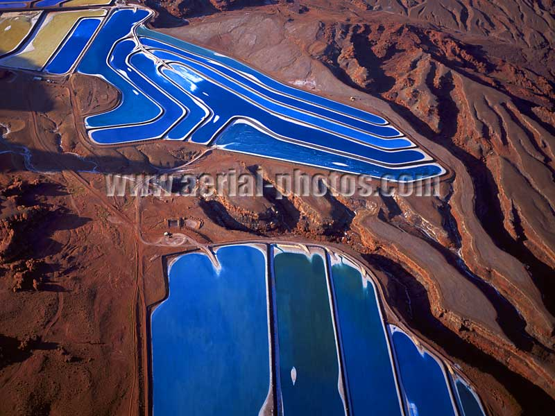 AERIAL VIEW photo of a potash evaporation ponds, mining industry, Moab, Utah, United States.